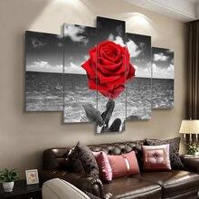 Современная Настенная живопись 5 панелей цветы плакаты и принты