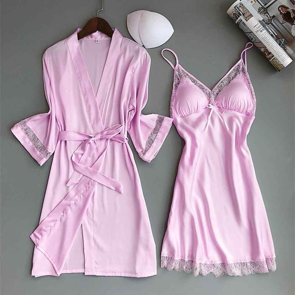 Seksi kadınlar Rayon gecelik bornoz seti dantel Trim pijama gecelik Kimono elbiseler gelin nedime düğün elbise rahat ev giyim
