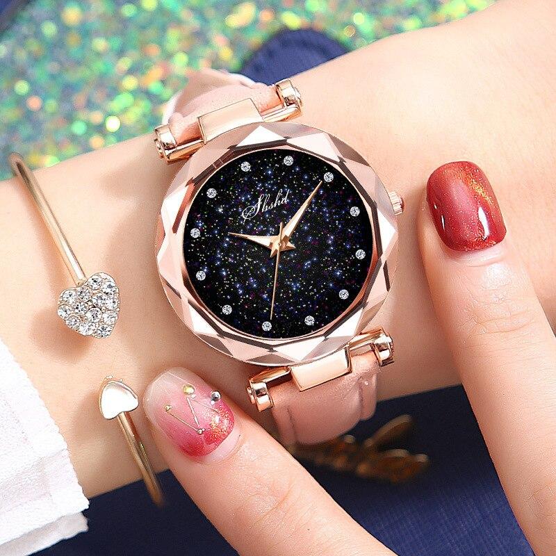 Luxury Women Watch Fashion Starry Sky Dial Rose Gold Quartz Wristwatch Leather Strap Ladise Clock Reloj Mujer Relogio Feminino