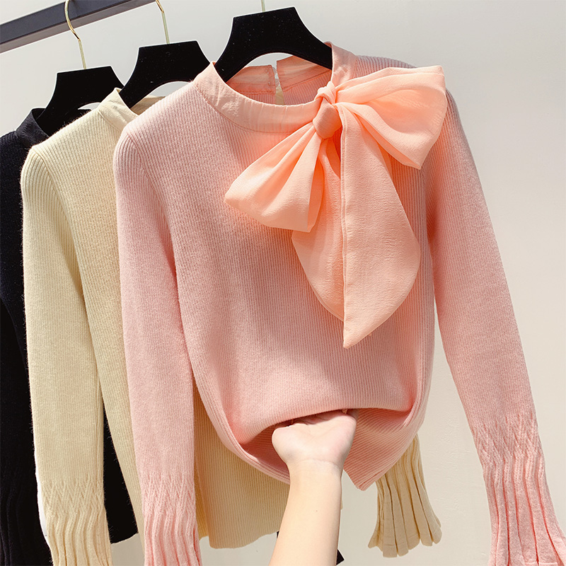 Autumn Winter Retro Tie 3D Bow Decors Sweater Flare Sleeve Pullovers Bottoming Knitted Shirt Long Sleeve Tops Blusas Mujer 2019