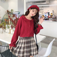 Shirt Women's Autumn And Winter 2019 New Style Korean style Fashion Ruffled Collar College Style Lace up Tops Fashion Shirt Hips