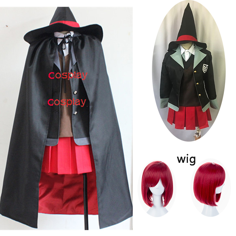 7PCS Yumeno Himiko Anime Danganronpa Cosplay Halloween Party Man Woman Japanese Uniform Cosplay Costumes And Wig Cloak Full Set