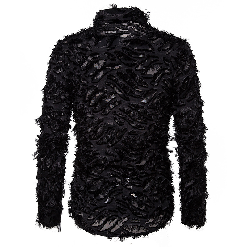 Sexy Black Feather Lace Shirt Men 2020 Fashion See Through Clubwear Dress Shirts Mens Event Party Prom Transparent Chemise S-3XL