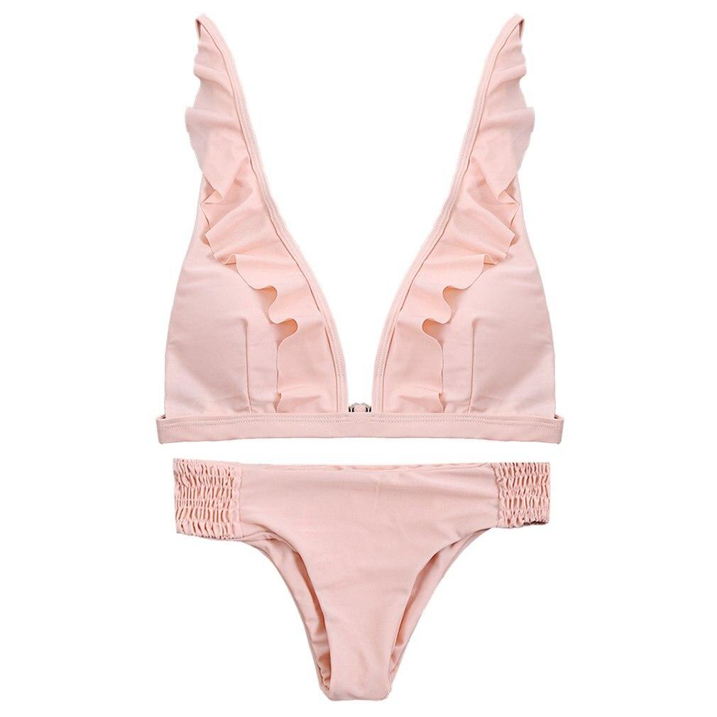 2017 Stylish Bikinis Women Sexy Swimsuit Ruffles Plunge Neck Bathing Suit Swimwear Bikini Set Frill Beach Wear Biquinis NEW