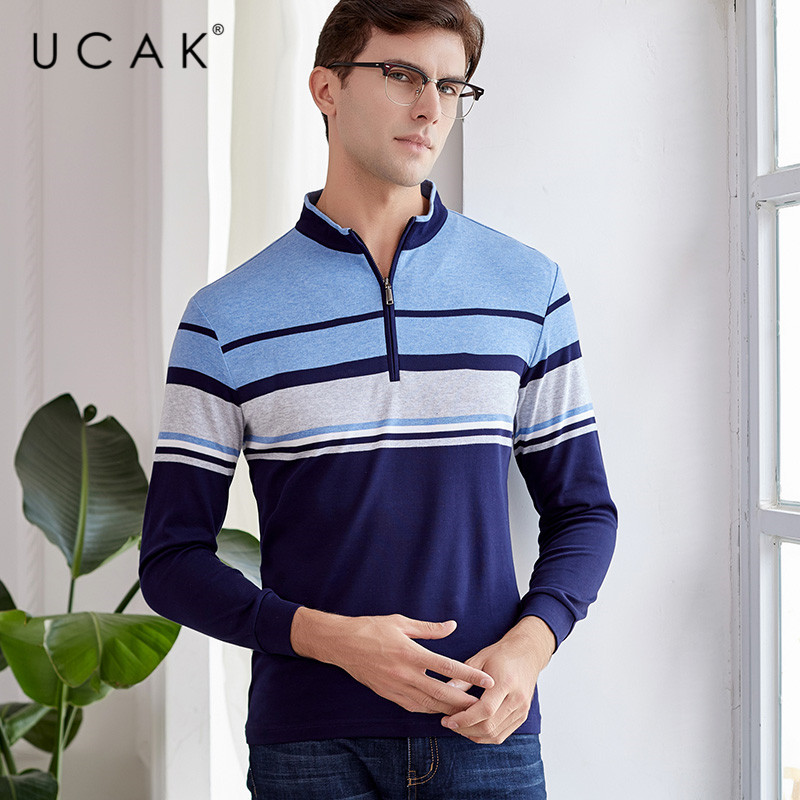 UCAK Brand Streetwear Casual 100% Cotton T-Shirt Men 2020 New Arrival Striped Spring Tshirt Long Turn-down Collar T Shirt U5035