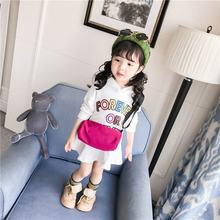 English Printed Sweater Thin Skirt Girls Children's Wear Children's Winter Warm Clothes Casual Compact Cute Clothes(China)