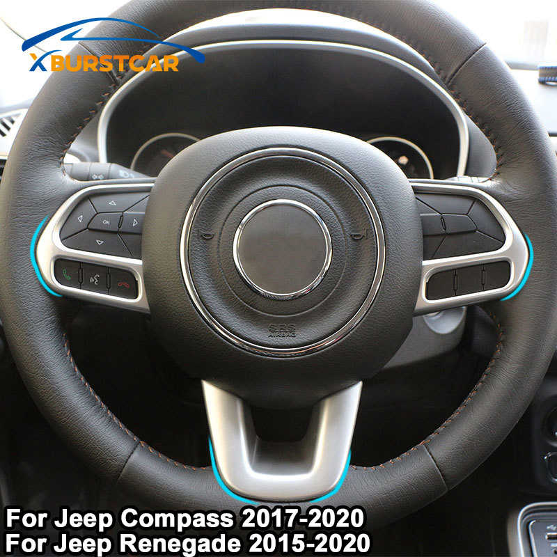 Xburstcar ABS Chrome Steering Wheel Cover Trim Stiker untuk Kompas Jeep 2017 2018 2019 2020 Renegade 2015 - 2020 Aksesoris