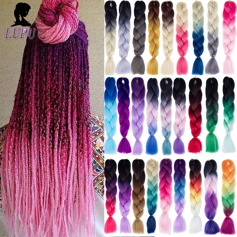 LUPU Synthetic Jumbo Braid Pink Purple Black Crochet Braids Ombre Braiding Hair Extensions High Temperature Fiber For Women