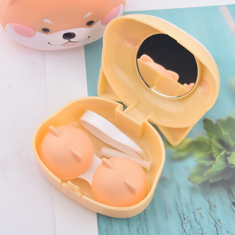 Cute Cartoon Contact Lens Case Holder Hard Contact Lens Case Set With Mirror Travel Lenses Box Container Spectacle Cases