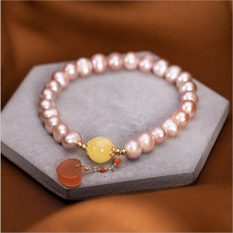 Pas faux vrai S925 en argent sterling pierres précieuses rétro vintage authentique perles meilleure qualité croyance religion rose perle Bracelet