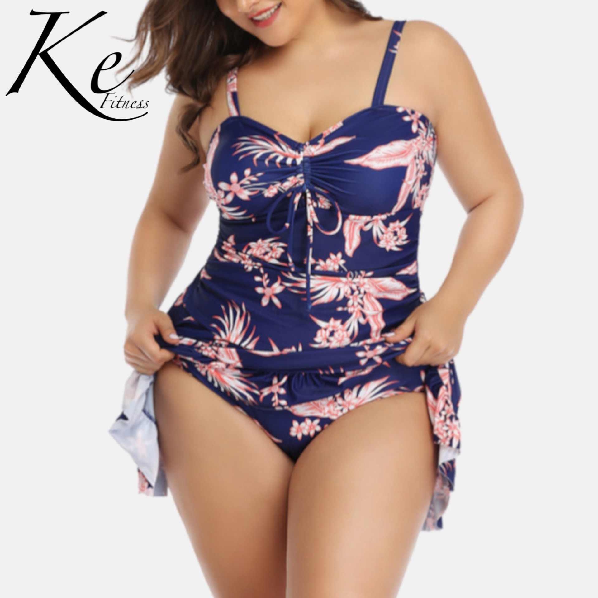 Ke Nueva Coleccion 2020 Falda Con Cordones Talla Grande Extra Grande 5xl Mujer Traje De Bano Dividido Purpura Negro 2 Piezas Conjunto De Bikini Aliexpress