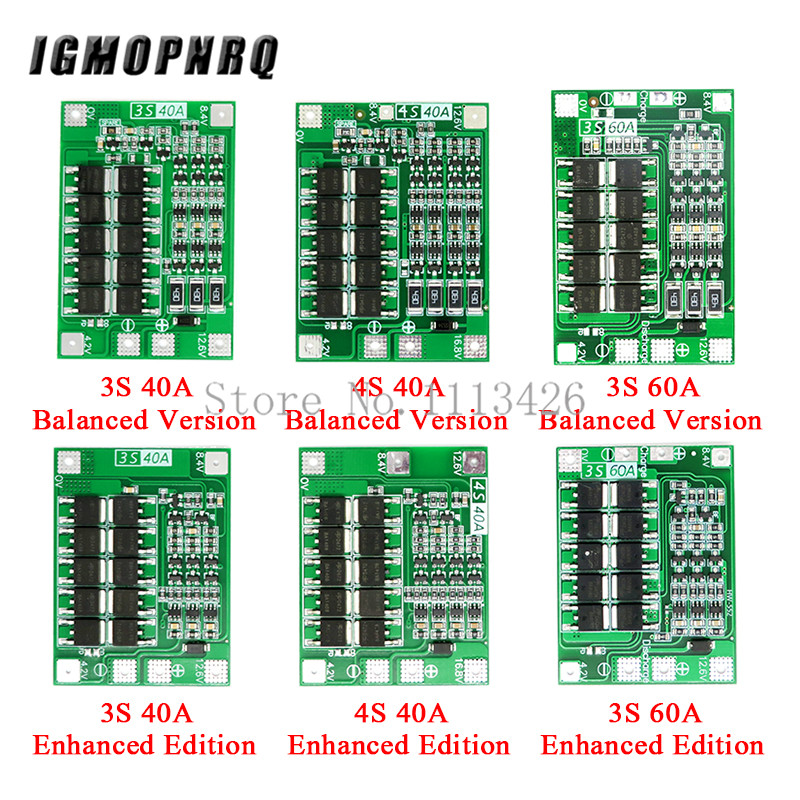 3S/4S 40A 60A Li-ion Lithium Battery Charger Protection Board 18650 BMS For Drill Motor 11.1V 12.6V/14.8V 16.8V Enhance/Balance