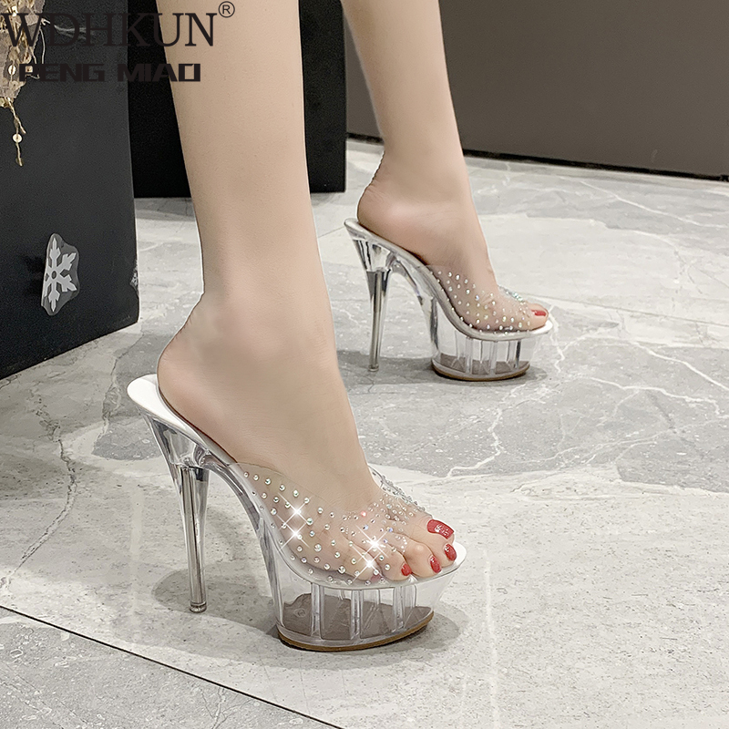 2020 Clear Heels Slippers Women Sandals Summer Shoes Woman Transparent Shoes High Heels Pumps Wedding Jelly Sandals Buty Damskie