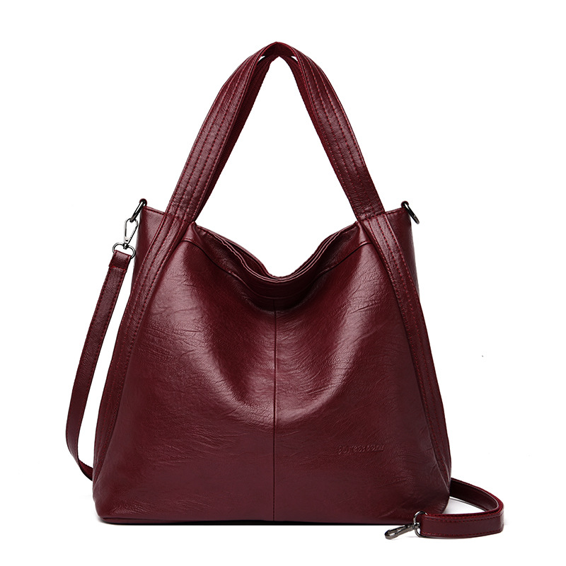 Luxury new fashion women's bag Pu soft leather solid color large capacity handbag leisure One Shoulder Messenger Bag