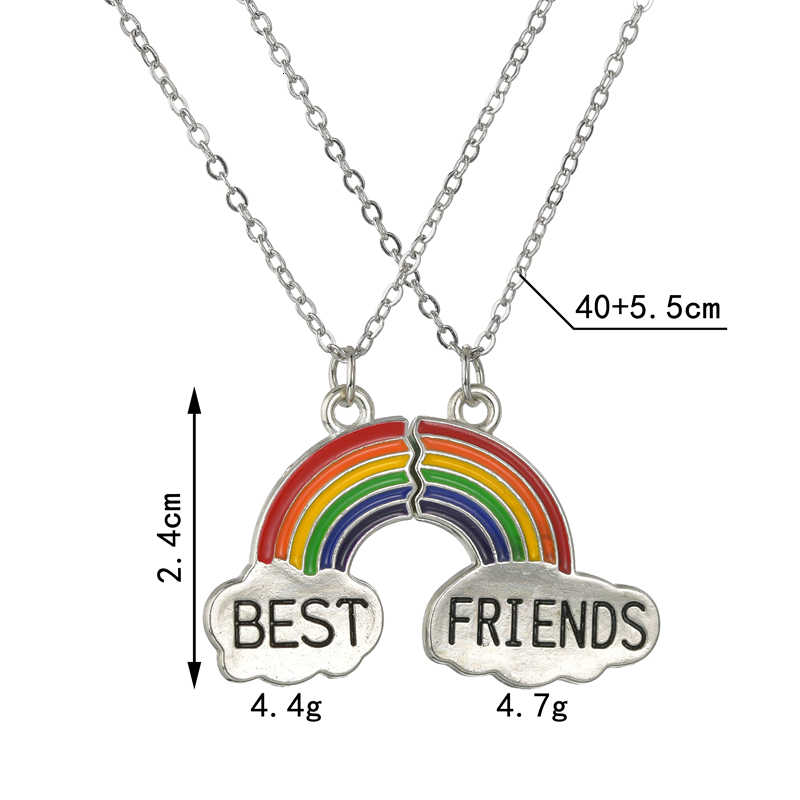 Najlepszy przyjaciel naszyjnik dla kobiet mężczyzn moda Puzzle Love Heart Rainbow metalowy krótki łańcuszek Student biżuteria przyjaźni prezent