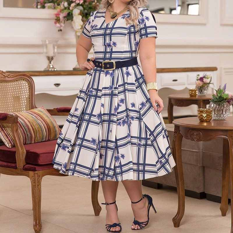 Плюс размер ТРАПЕЦИЕВИДНОЕ Повседневное платье элегантные вечерние женские офисные платья с коротким рукавом с v-образным вырезом Ретро клетчатое винтажное платье