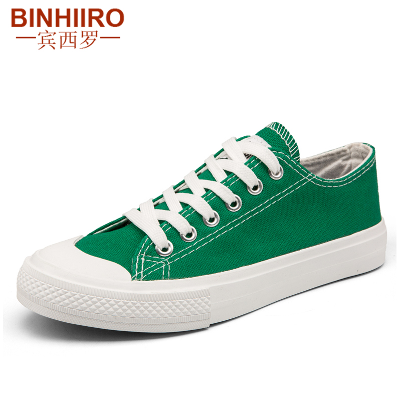 Spring Autumn Men Vulcanize Shoes Solid Lace Up Lovers Shoes White Black Casual Canvas Flat Shoes For Male Size 35-44 BINHIIRO