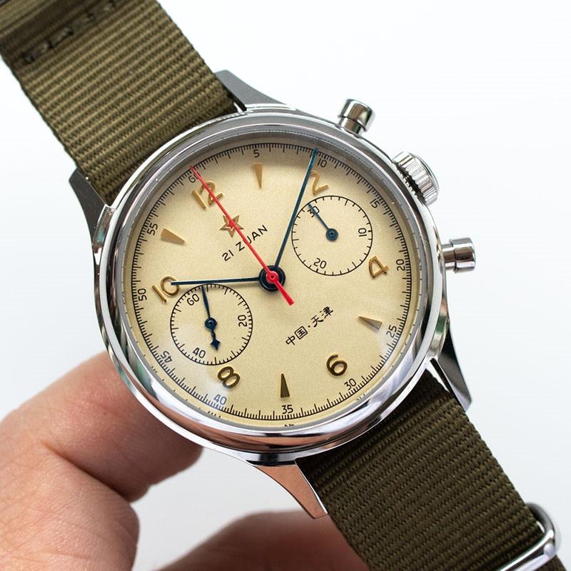 Piloto reloj seagull 1963-viento correa de tela resistente al agua reloj transparente caso de cristal de zafiro reloj seagull