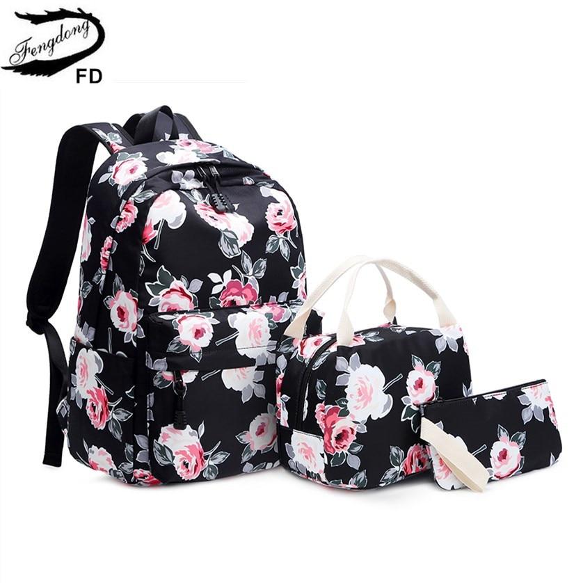 FengDong 3pcs/set School Bags For Teenage Girls Rose Flower Printing School Backpack Set Kids Floral Book Bag Travel Backpack