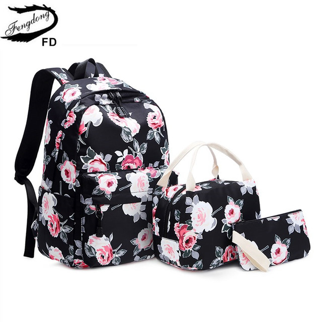 Fengdong 3pcs/set school bags for teenage girls rose flower printing school backpack set kids floral book bag travel backpack