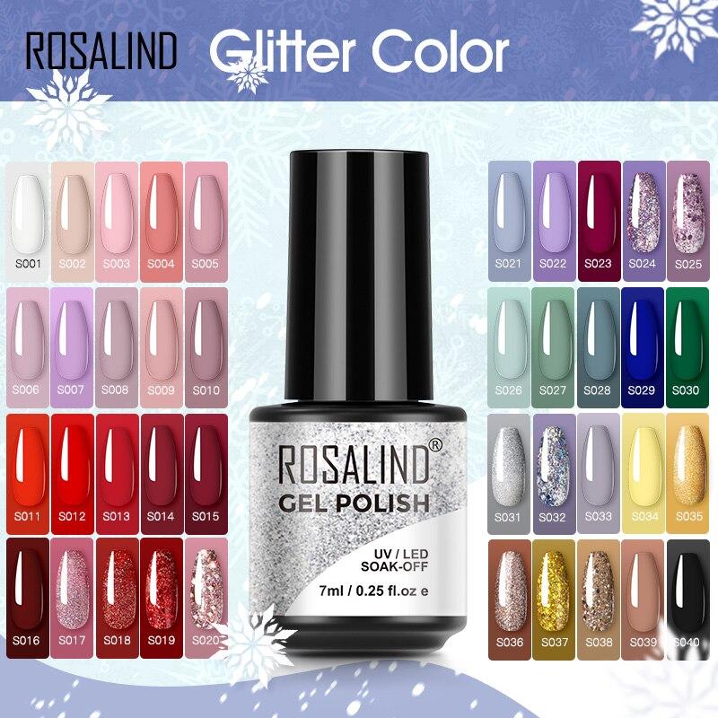 Гель-лак ROSALIND 7 мл, Блестящий лак для ногтей, все для маникюра, базовое и верхнее покрытие для ногтей, полуперманентные УФ-лаки