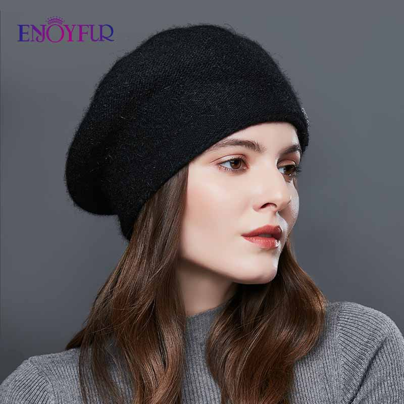 Image 3 - ENJOYFUR Rabbit Knitted Winter Hats For Women Cashmere Warm Beret Hat Female Flower Decoration Lady Middle Aged Cap-in Women's Berets from Apparel Accessories