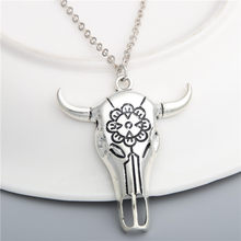 1Pc Handmade Bull Head Skull Amulet Pendant Necklaces Punk Retro Style Choker For Men Gift Jewelry Wholesale E549(China)