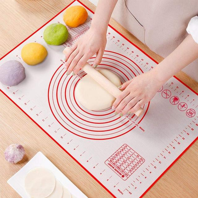 Silicone Baking Mat Non Stick Non-Slip Silicone Pastry Mat 64x45cm Black 29x26cm