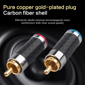Image 2 - Xangsane 4PCS black/white carbon fiber gold plated and silver plated hifi audio RCA plug for DIY signal power cable