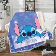 Lilo & stitch 3d impresso sherpa disney cobertor thows capa colcha de viagem cama cobertor velo lance pelúcia colcha