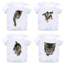 Children's funny 3D cat T-shirt boy girl animal short-sleeved round neck cotton soft T-shirt quality white casual T-shirt цена и фото