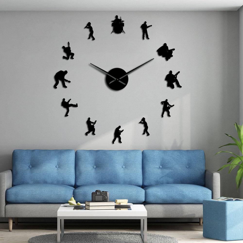 Drummer Music Rock Band DIY Giant Wall Clock Guitar Player Silhouette Decorative Large Wall Clock Guitarist Fremeless Wall Watch