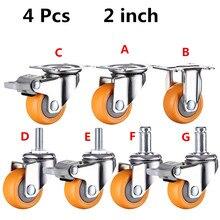 4pcs 2 inches 50mm Heavy Duty 160kg Orange Swivel Castor Wheels Trolley Furniture Caster Rubber цена