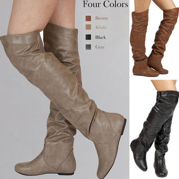 Lasyarrow Over The Knee Boots Women Pu Elastic Boots Female Round Toe Shoes Concise Flat Shoes Autumn Winter 2019 Plus Size 48