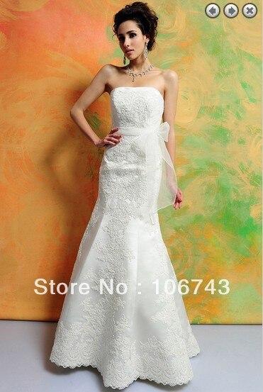 Free Shipping 2017 Bridal Gown Vestidos Formales White Long Dress Plus Size Concise Lace Applique Mermaid Corset Wedding Dresses
