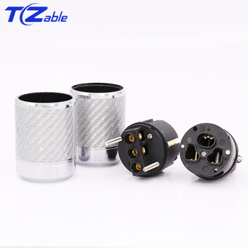 Audio Cable Adapter | Hifi Power Plug EU Plug Speaker Cable Connector Carbon Fiber Gold Plated Audio Electrical Plug Male IEC Female Connector Adapter