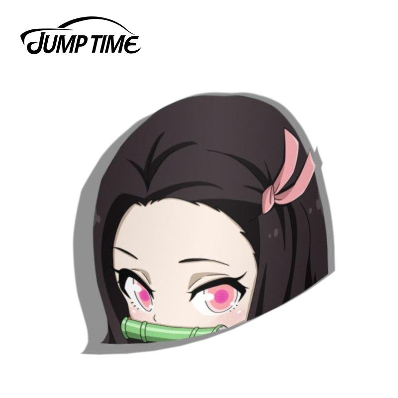 Jump Time 13cm X 11.7cm For Nezuko Peeker Demon Slayer Anime Car Stickers Vinyl Stickers Decorative Waifu Cartoon Car Wrap Decal