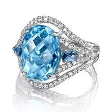 Новые Большие обручальные кольца ustar с голубым фианитом овальной