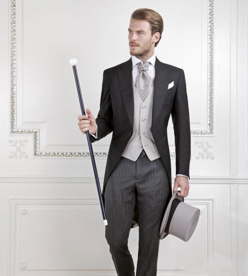 New Cool Groom Tuxedos Men Wedding Tailcoat Bridegroom Suit Best Men Suit Swallow-tailed Coat (Jacket+Pants+vest)