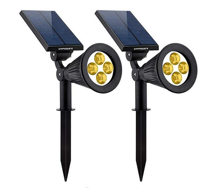 Solar Lights 2-in-1 Solar Powered 4 LED Adjustable Spotlight Wall Light Landscape Light Bright  Dark Sensing Auto Lights 2pcs