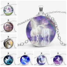 2019 Explosion Models Unicorn Glass Necklace Handmade Anime Cute Tianma Pendant Long Birthday Gift