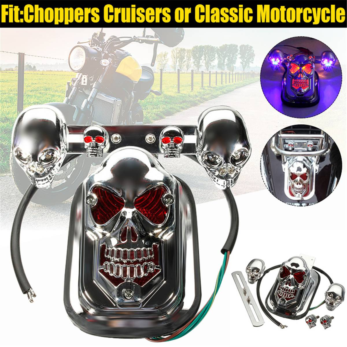 20W LED Motorcycle Skull Turn Signal Lights Indicators ATV Rear /Tail / Stop / Brake Light Lamp For Choppers Cruisers