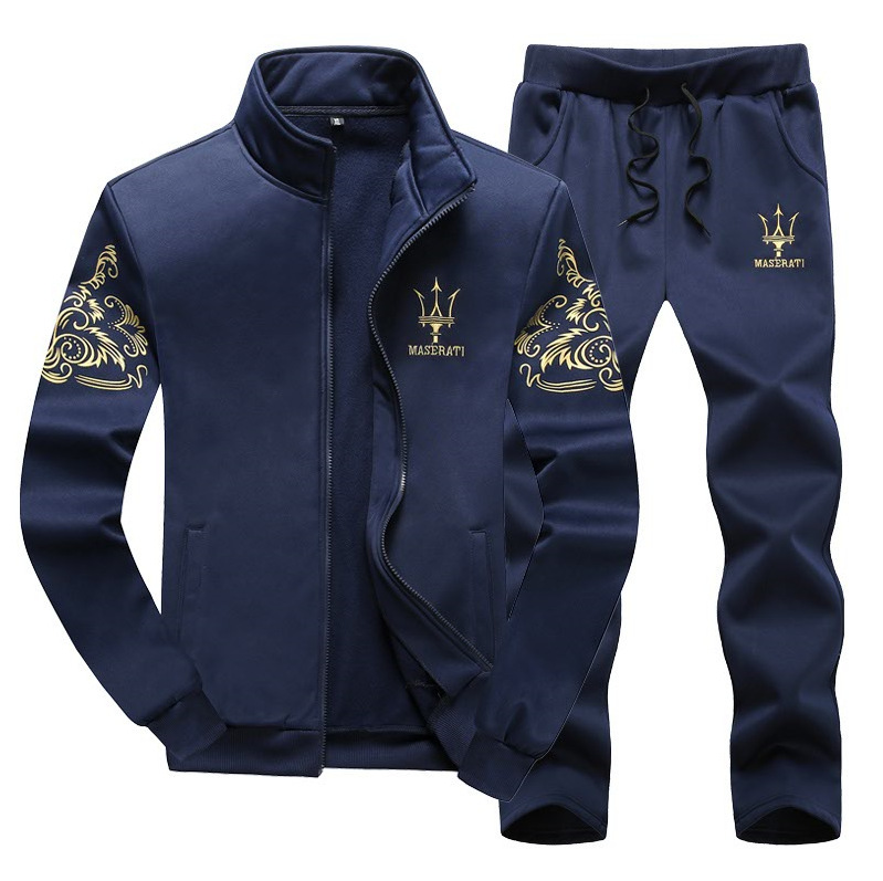Maserati Sports Leisure Suit Men's Autumn And Winter MEN'S Hoodie Stand Collar Korean-style Slim Fit Men'S Wear Cardigan Suit