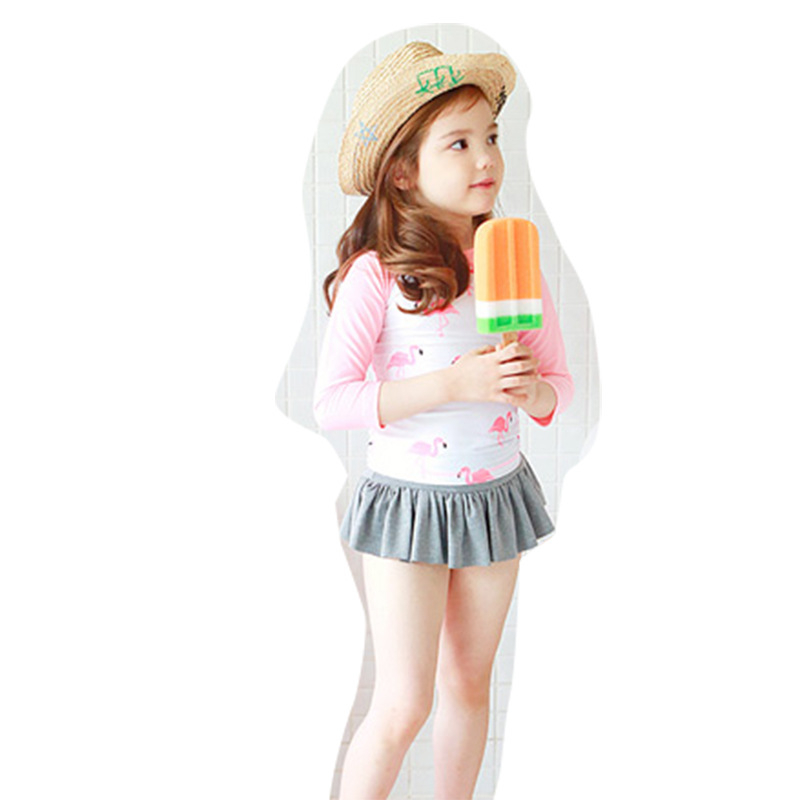 New Model 1 12 Y Girl Two Piece Swimsuit Kids Swimwear Girls Bathing Suit Pink Flamingos Pattern Child Long Sleeve Surfing Wear in Children 39 s Two Piece Suits from Sports amp Entertainment
