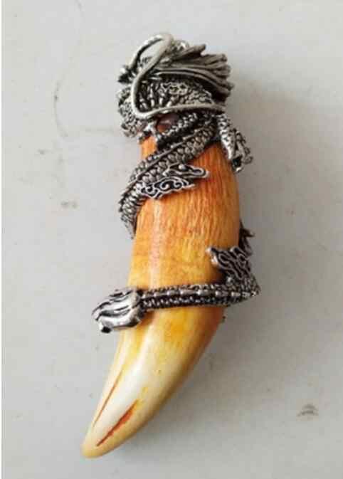 จีน archaize หมูป่าฟัน Wild HOG เงินมังกรจี้ talisman
