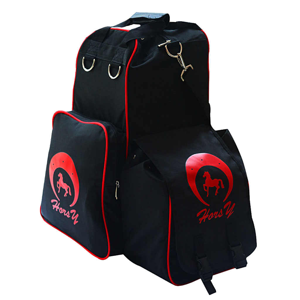 Equestrian Backpack Black Mesh Helmet Holder Waterproof Horse Riding Boots Bags