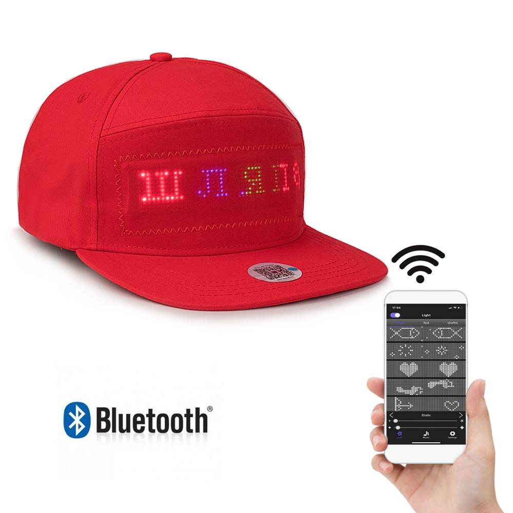 Red Bluetooth LED Hat Programmable Scrolling Message Display Board Baseball Cap Hip Hop Hip-hop Party Parade Golf Fishing Cap