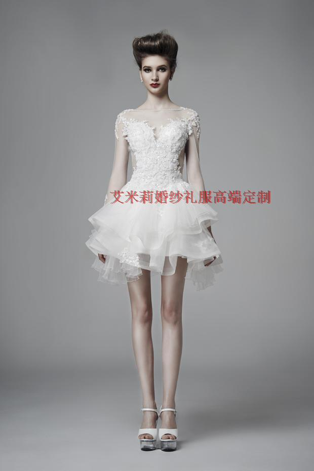 Crystal Summer Sexy Backless Appliques Lace Short Mini Prom Gown 2018 New Style Custom Made Bow Long Sleeve Bridesmaid Dresses