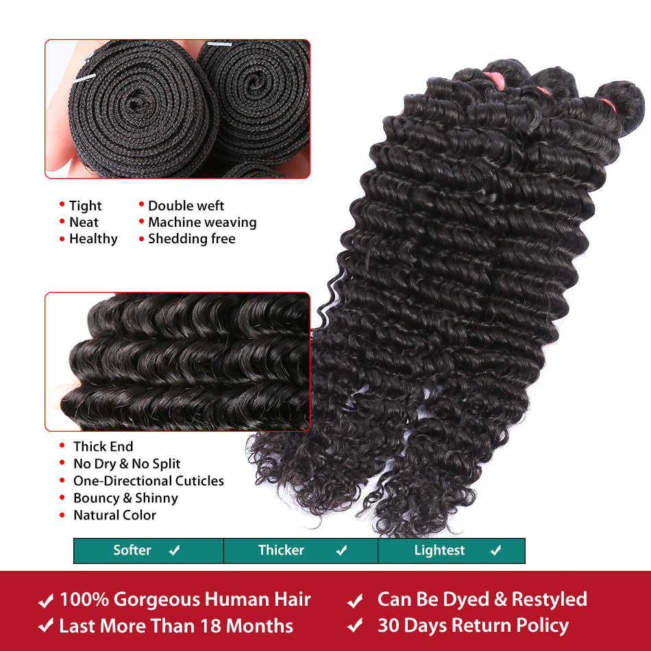 Melodie 28 30 32 inç derin dalga demetleri 100% insan saç uzatma 1 3 4 demetleri brezilyalı su dalgası kıvırcık saç demetleri anlaşma