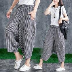 2019 verano nuevo estilo de algodón de lino pantalones Capri rayas de gran tamaño étnico-estilo elástico cintura Harem pantalones de las mujeres